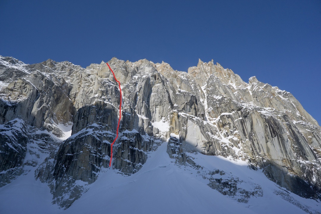 The lower east face of Jezebel (9,620') in the Revelation Mountains. The lower portion of Uisdean Hawthorn and Tom Livingstone's new route, Fun or Fear (1,200m, M6+ AI6 R 90˚), is shown.