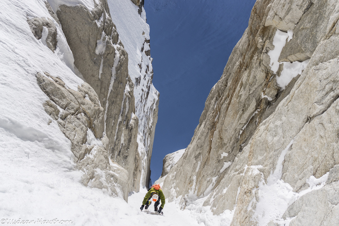 Tom Livingstone in a moderate couloir on the east face of Jezebel (9,620') during a reconnaissance. This line is somewhere between Hoar of Babylon (Graham-Silvestre, 2015) and the team's new route, Fun or Fear (1,200m, M6+ AI6 R 90˚).