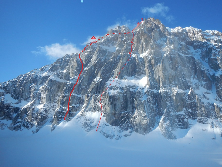 The east face of Jezebel (9,620') in Alaska's Revelation Mountains, showing the two routes completed on the face: Fun or Fear (1,200m, M6+ AI6 R 90˚), Hawthorn-Livingstone, 2018) and Hoar of Babylon (1,200m, WI6 M6 A0, Graham-Silvestre, 2015).