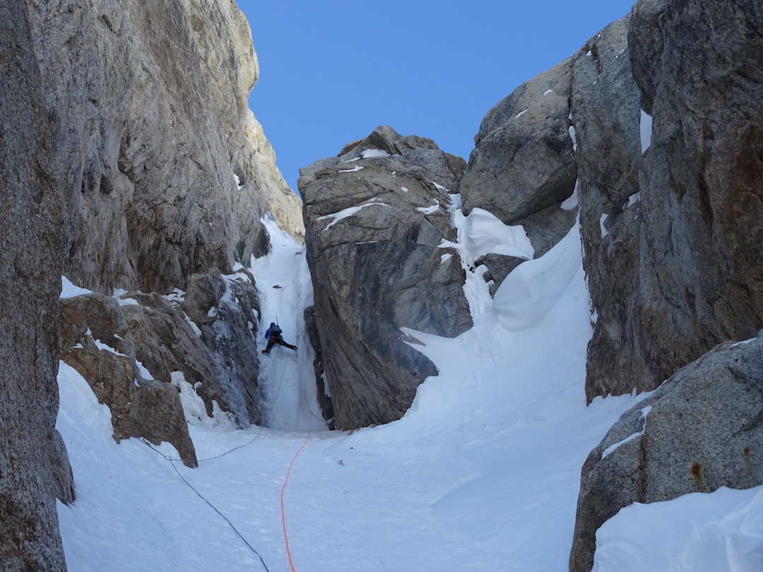 A steep ice pitch on the group's near miss on a direct line on the west face of an unclimbed peak just north of Apocalypse. The four French climbers climbed 900m up to WI6 and 90˚ névé before being stopped by a massive roof just short of the ridge.