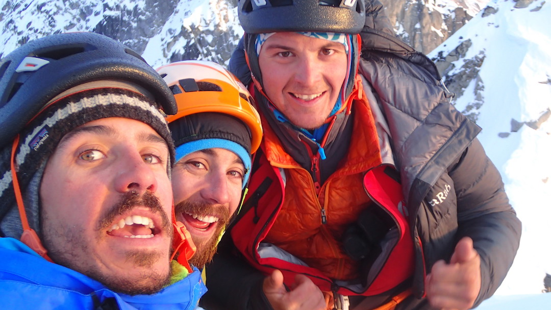 Thomas Auvaro, Jeremy Fino, and Antoine Rolle on the summit of Hydra after making the first ascent of Fa Pa Caou Per Aqui (600m, ED M8).
