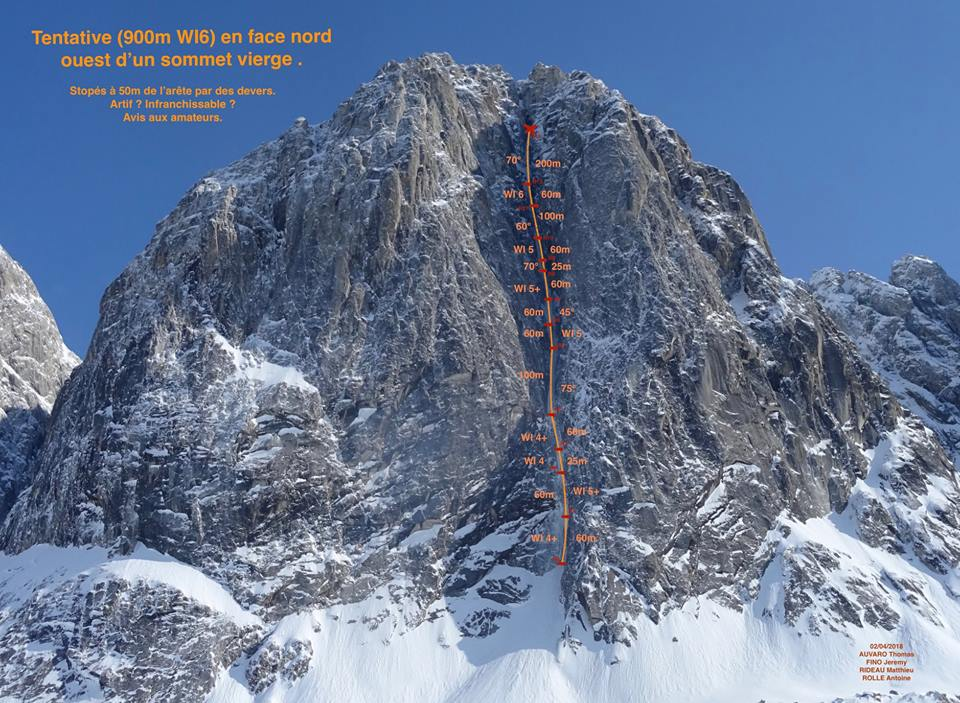 The west face of an unclimbed peak between Apocalypse and Hesperus, in Alaska's Revelation Mountains, showing the attempt made by Thomas Auvaro, Jeremy Fino, Antoine Rolle, and Matthieu Rideau. The team climbed 900m up to WI6 and 90˚ névé before being stopped by a massive roof.