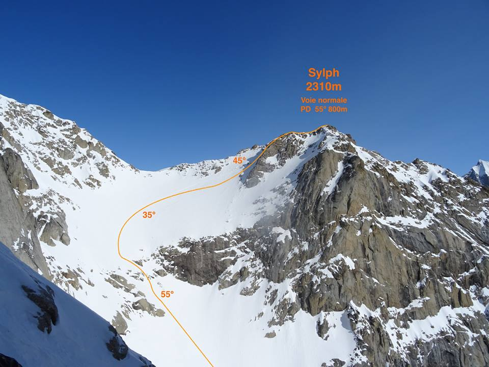 The south face of Sylph in Alaska's Revelation Mountains, showing the line ascended and skied by a French team between technical climbs in April 2018.