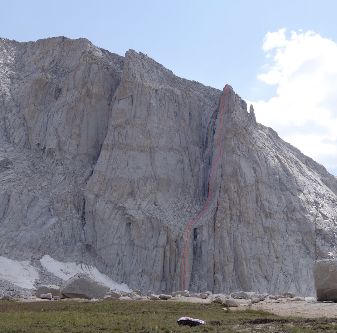 The northeast face of Mt. Chamberlin in the High Sierra, showing the line of Until the Wheels Fall Off (1,100', IV 5.11 C1). The route begins to the right of Innominata (5.11 A1, Nettle-Shelton, 2010) on the central buttress before breaking right into a hanging gully and climbing the left side of the west buttress.