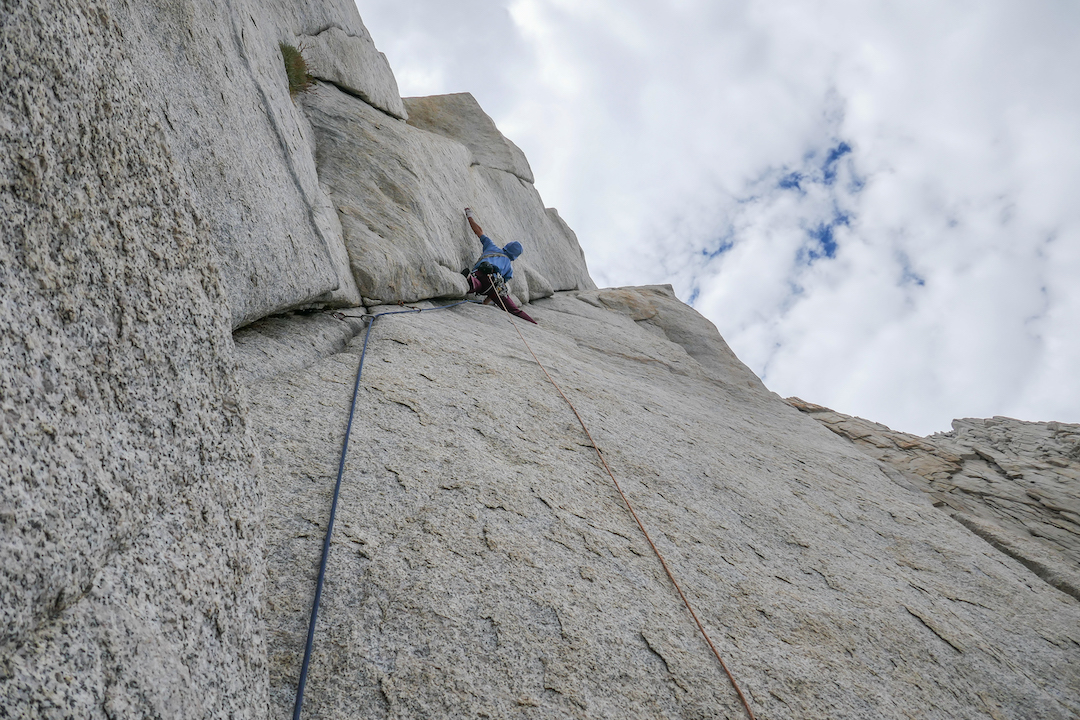 Vitaliy Musiyenko leading the crux pitch of Dreamliner on the Cleaver (13,382') during the route's first ascent.
