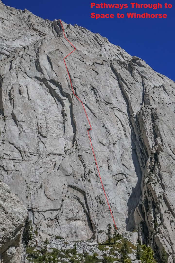 A portion of Lone Pine Peak's massive south face, showing the line of Pathways Through to Space (V 5.11a). The route is a direct start to Windhorse (V 5.11), which begins to the left and was first free climbed by Myles Moser and Amy Ness in 2012.
