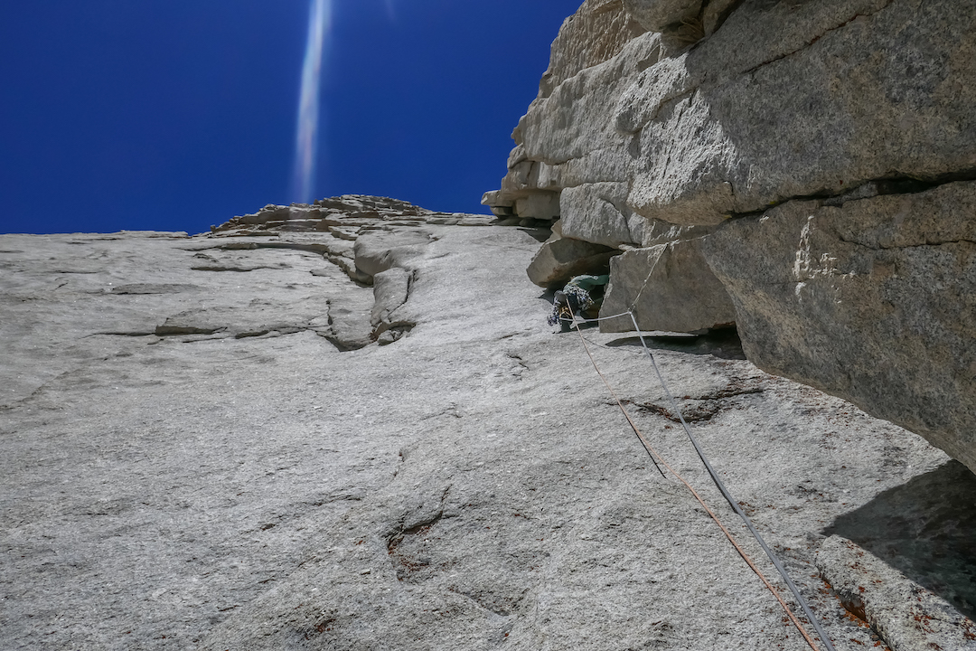 Derek Field cruising up the large corner system that defines Streets of the Mountain (IV 5.11a) on the south face of Lone Pine Peak. Field and Vitaliy Musiyenko made the first free ascent of the route in June 2018.
