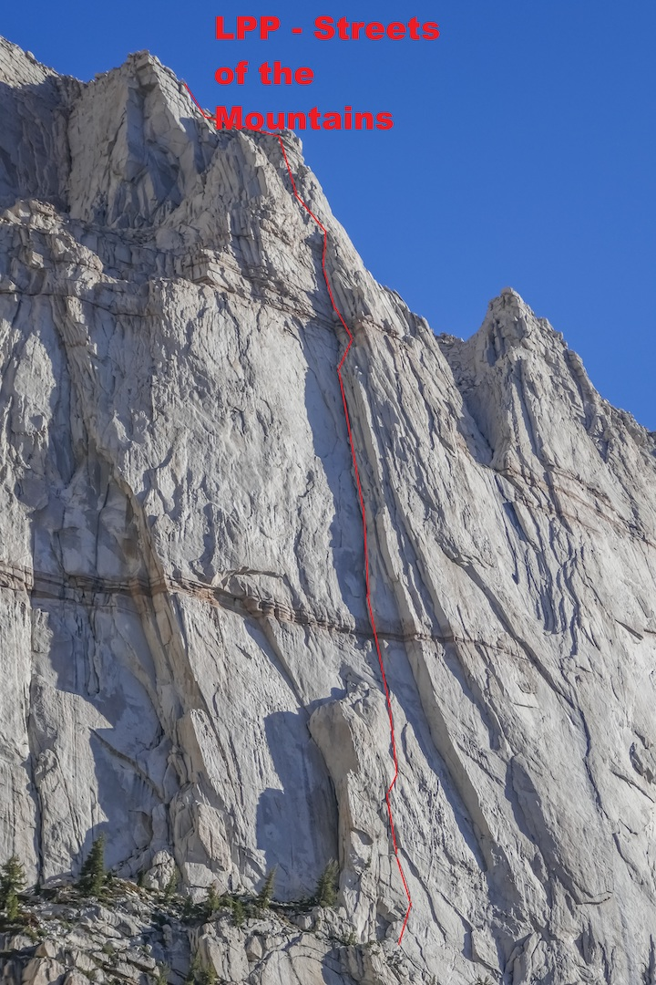 The left side of Lone Pine Peak's massive south face, showing the line of Streets of the Mountain (IV 5.11a). Field and Vitaliy Musiyenko made the first free ascent of the route in June 2018.