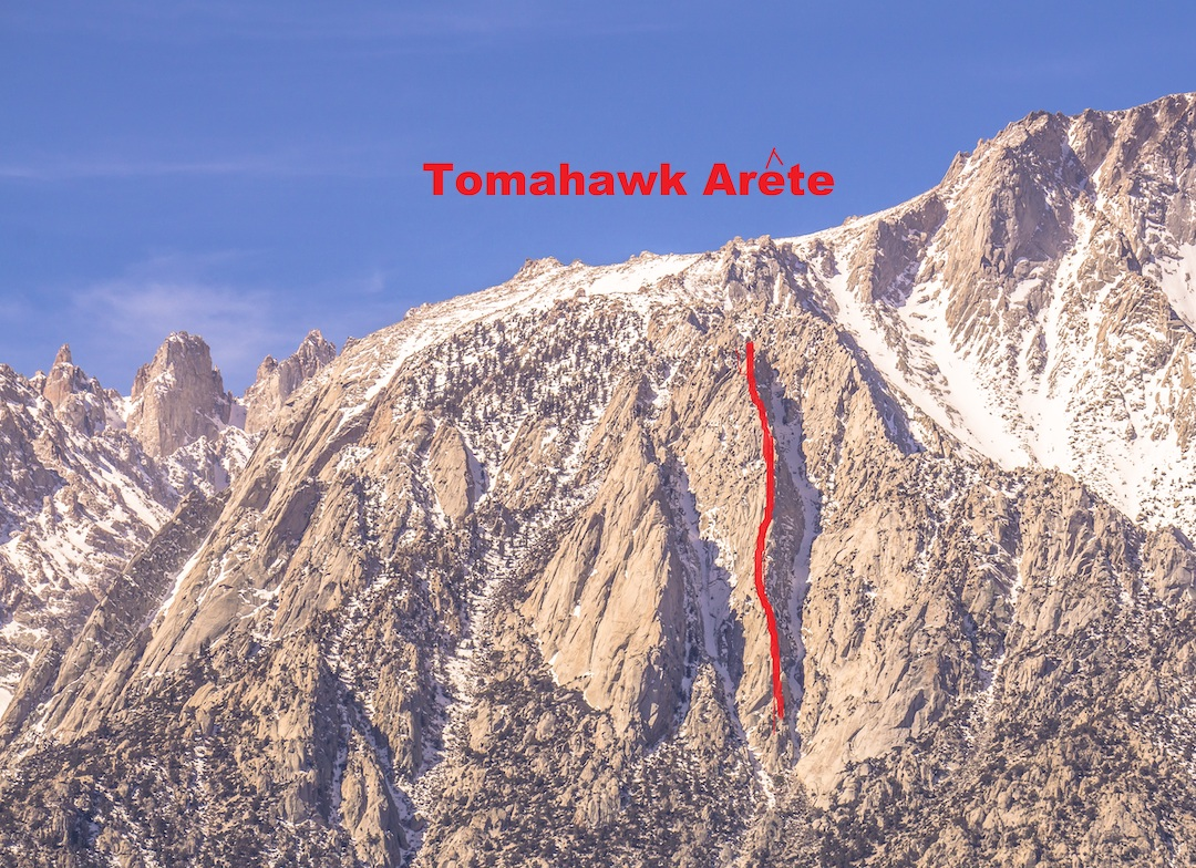 The broad eastern aspect of Lone Pine Peak in California's Sierra Nevada. Chaz Langlier and Vitaliy Musiyenko climbed a new route called the Arrowhead (ca 2,000', IV/V 5.11b/c) on a feature they named the Tomahawk Arete in May 2018.