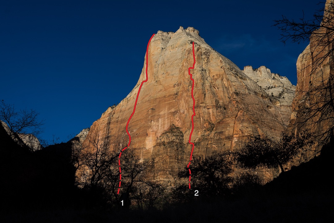 The south face of Abraham in Zion National Park showing the two new lines completed by Brandon Adams with Roger Putnam and Kristoffer Wickstrom in 2018: (1) Munkuntuweap (2,000', VI 5.8 A4). (2) Pangea (1,800', VI 5.10 A4).