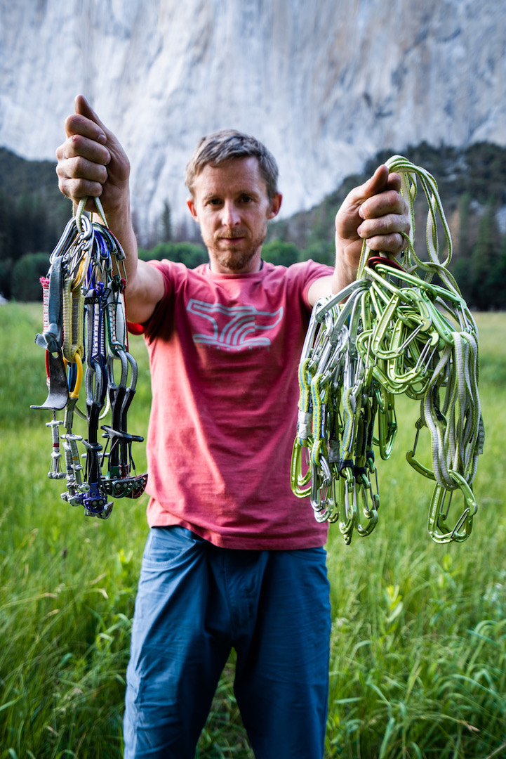 Tommy Caldwell displays the paltry rack for a sub-two-hour ascent of the Nose.