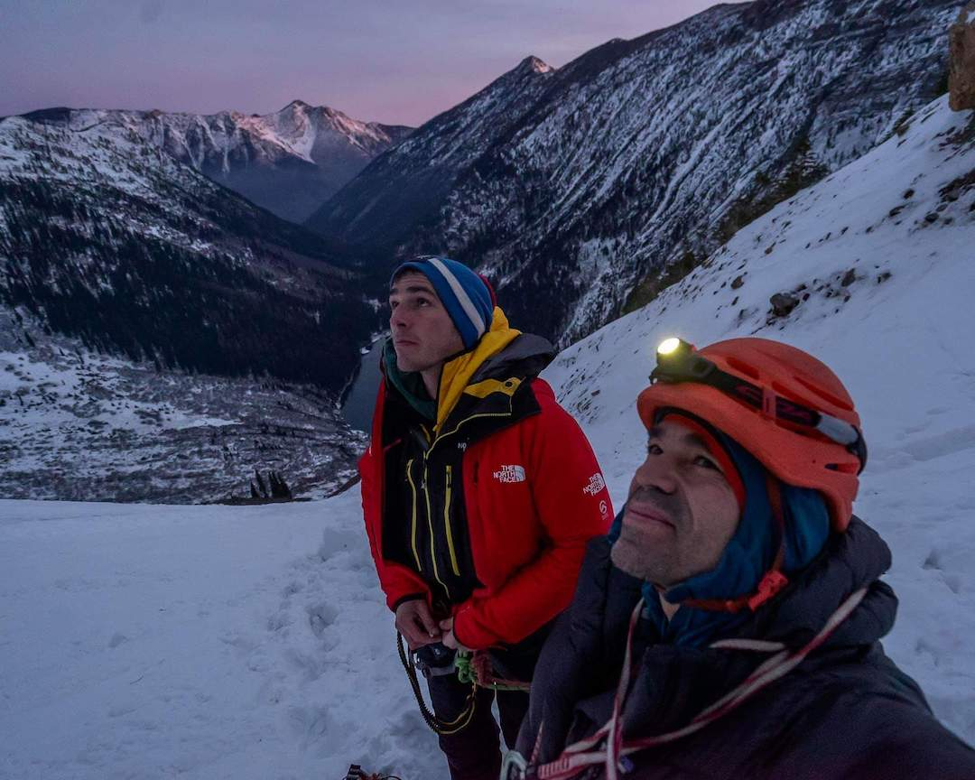 Matt Cornell (left) and the author preparing to attempt their new route on A Peak.