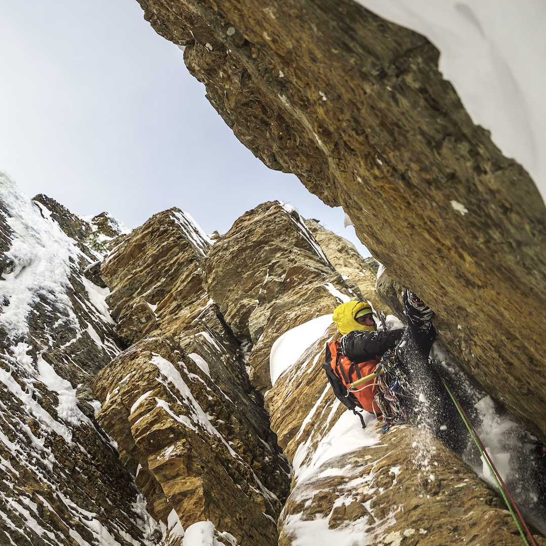 Matt Cornell in the lower chimney of what would become Canmore Wedding Party.
