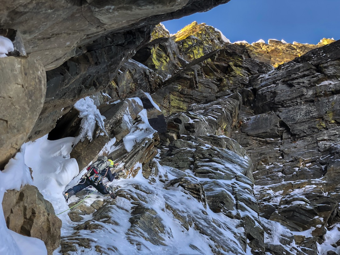 Jess Roskelley just above the bivy boulder on A Peak.