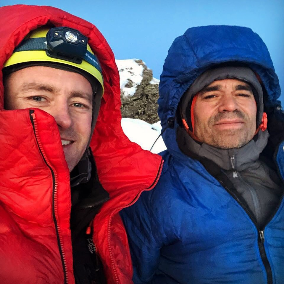 Jess Roskelley and Scott Coldiron on the summit of A Peak after making the first ascent of Canmore Wedding Party (2,500', AI5 M7) in November 2018.