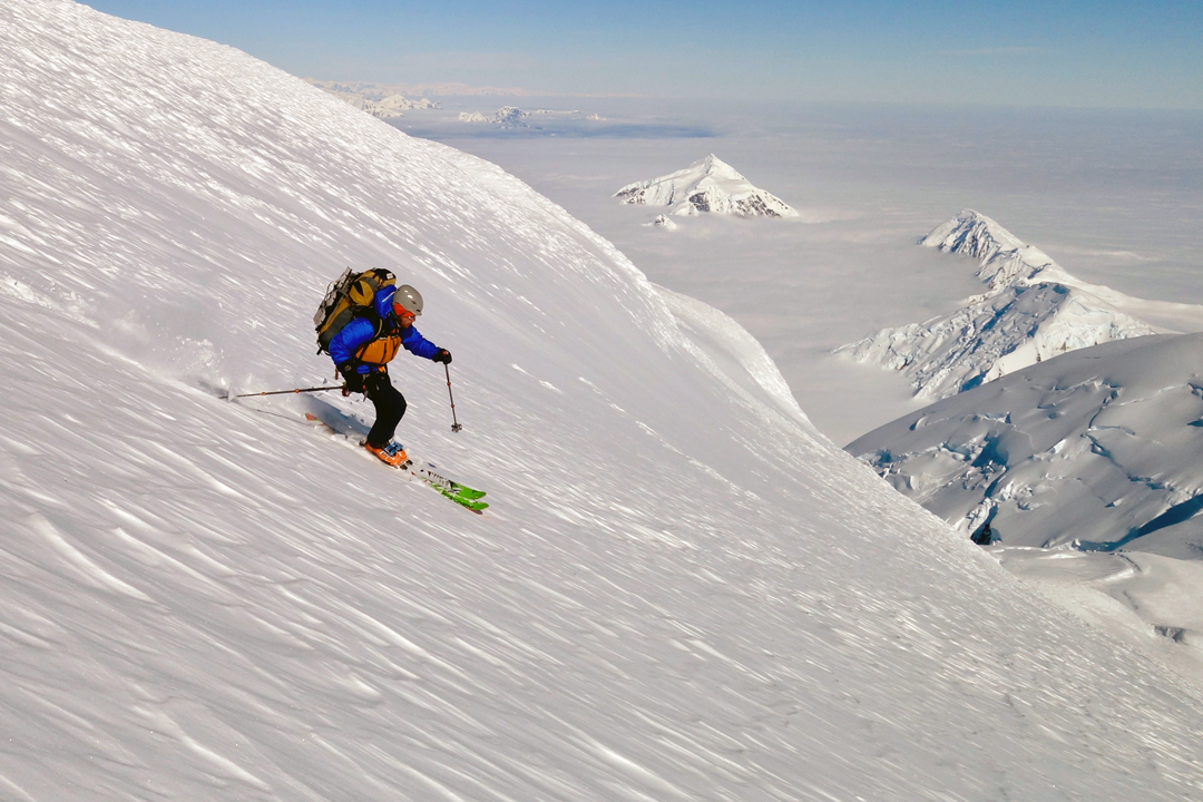 Pat Spiers skiing off Mount Français, the highest mountain on Anvers Island.