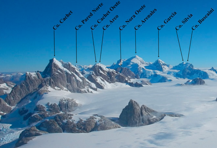 Looking south and west across the Northern Patagonian Icefield from the summit of Pantagruel in 2018. Cerro Mangiafuocoa is the large unlabeled spire in the glacial foreground.