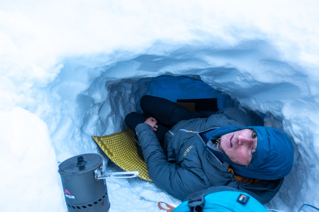 Luca Schiera at the snow hole bivy.