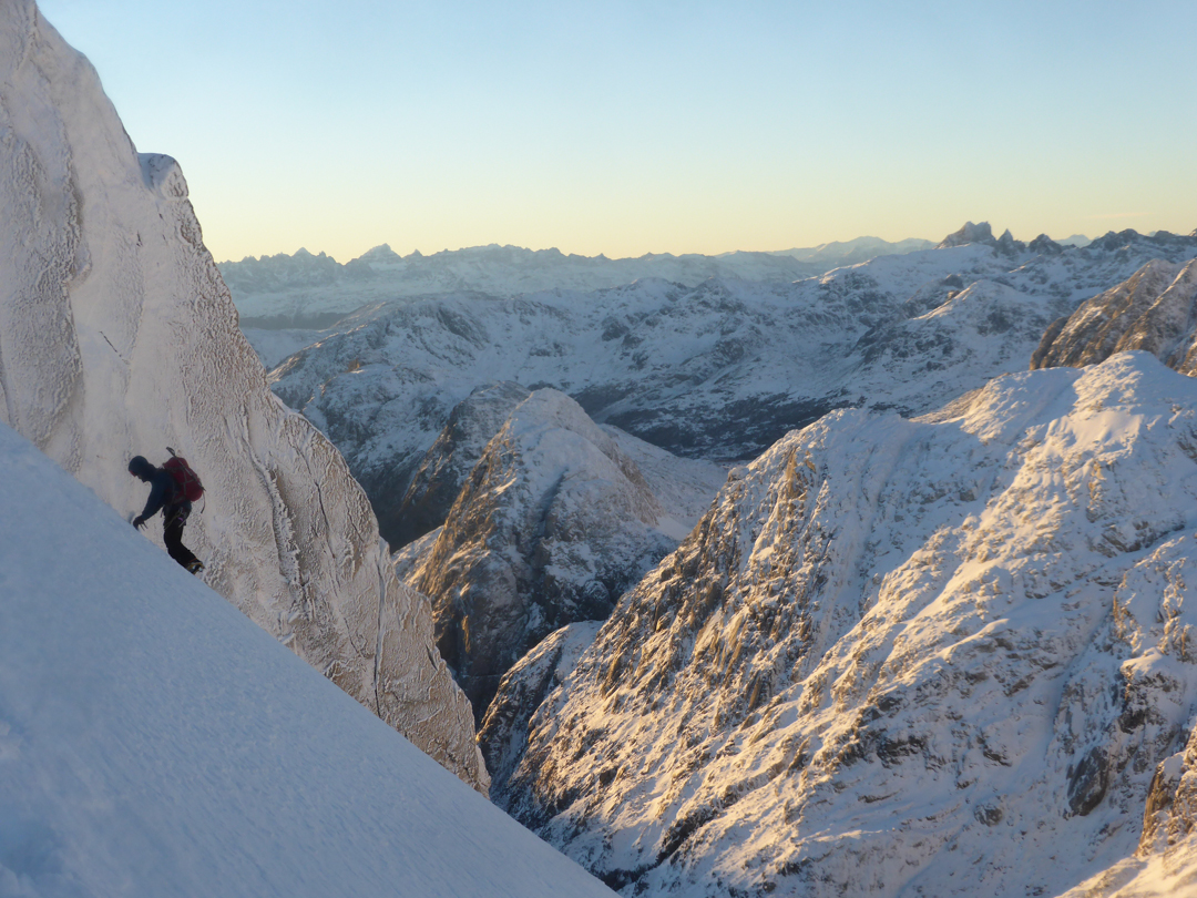 Ross Balharry traversing a snow slope on the east ridge of Cerro Chueco, with a view to the northeast. Cerro Redondo is the peak in the right foreground.