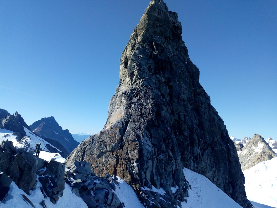 Nicolas Valderrama beneath the the north ridge of the needle-like Cerro Caballo.