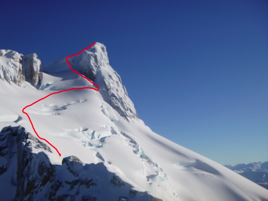 Cerro Chueco with the first-ascent route up the east side shown.