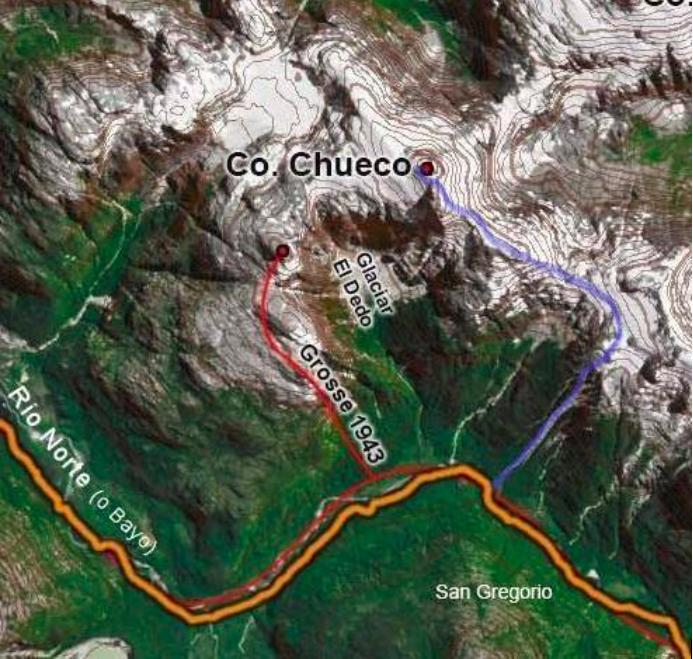 Map of the route followed to climb Cerro Chueco.