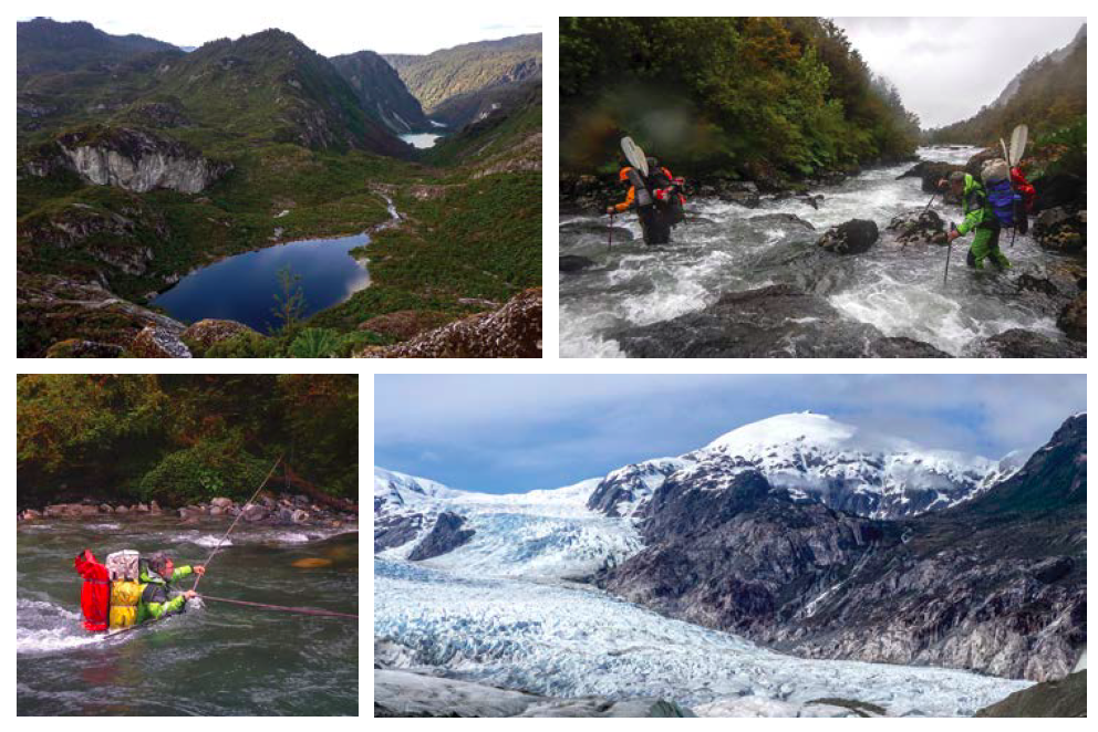 [Clockwise from top left] Chain of lakes west of the icefield, seen from the Paso Rata; fording the upper Río el Pájaro in heavy rain; Cerro Teresa (1,947m) from Erasmo Lake; and Pablo Besser crossing the Pájaro.