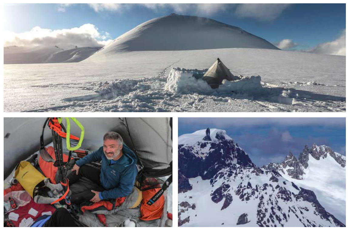 "[Clockwise from top] Cerro Bigote, near the high camp of the 2018 expedition; unclimbed ""Cerro Erasmo"" (ca 1,900m), located in a very remote setting northeast of the icefield; Chilean explorer Pablo Besser during the 2018 expedition."