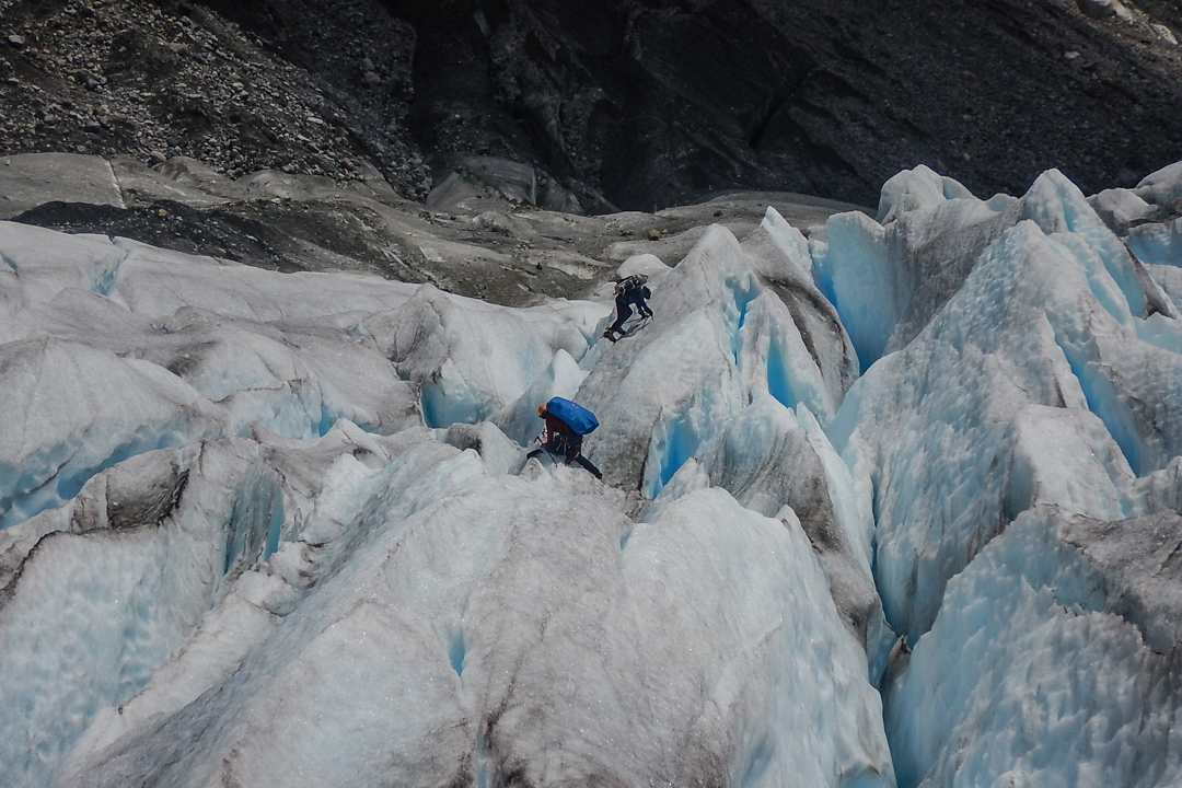 A difficult passage near the tip of the Erasmo Glacier.