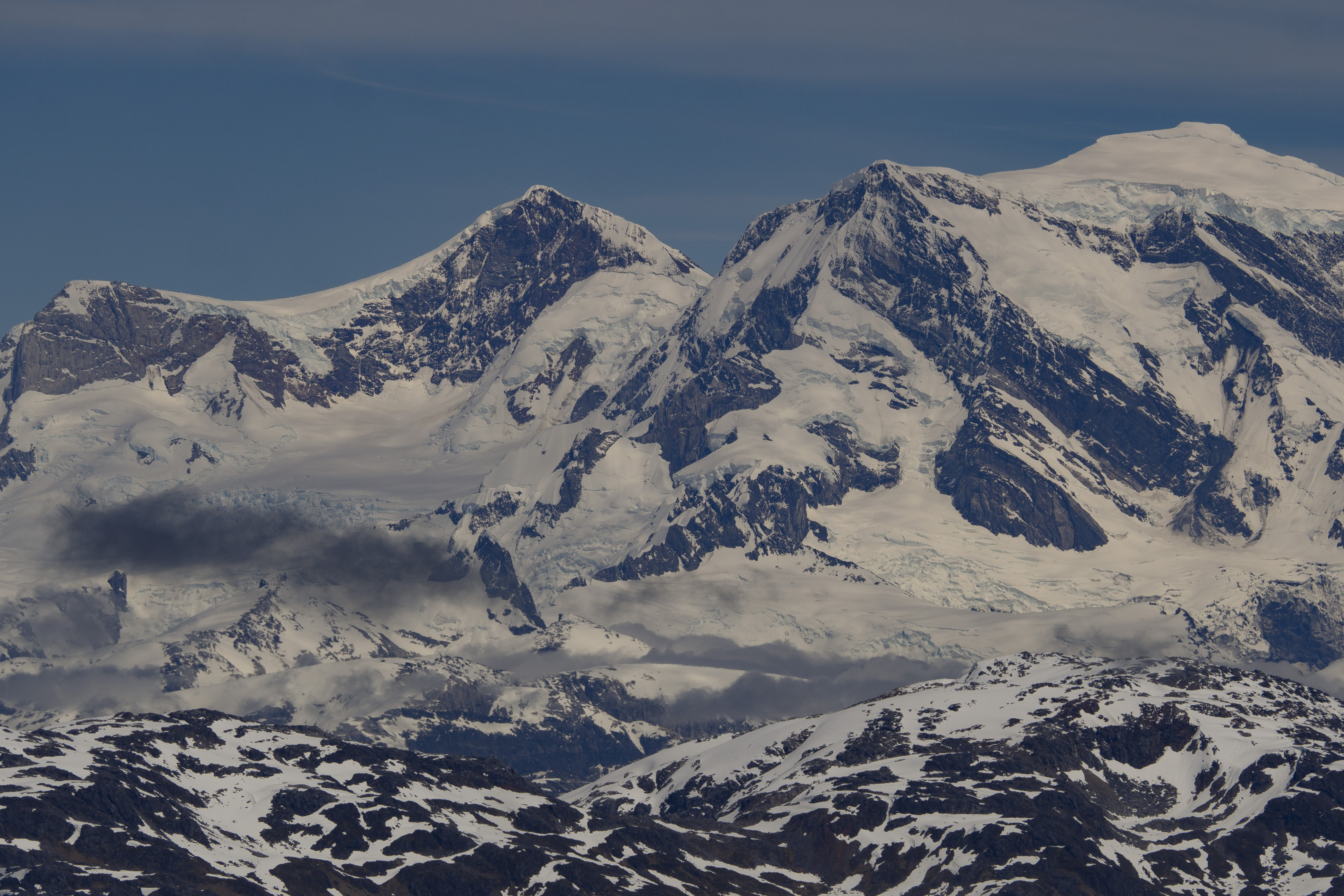 Cuerno de Plata (center-left) summit and Monte San Valentin (right) from the northeast.