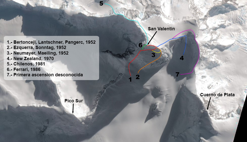 The San Valentin massif, showing Pico Sur, Monte San Valentin with its known routes, and Cuerno de Plata. The only known route on Cuerno de Plata is from the south, first completed in 1969 and repeated for the second time in 2017.
