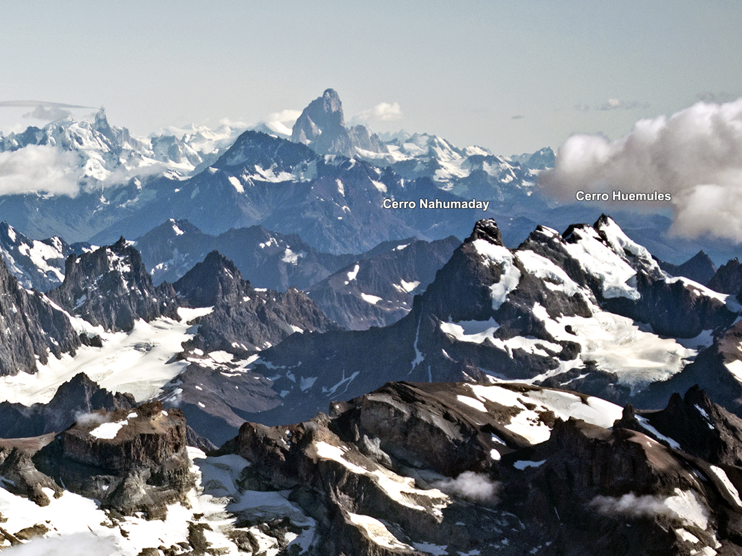 Cerros Nahumaday and Huemules from the south. The new route by Daniel Pons and Steffen Welsch on Nahumaday climbs the northwest face, hidden from view. In the distance, Cerro Fitz Roy.