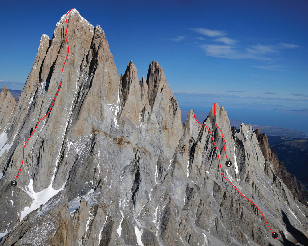 The Cerro Fitz Roy range seen from the west showing the three routes that Jim Reynolds free-soloed: (1) The complete West Ridge of Aguja Rafael Juárez, which Reynolds soloed on February 9, downclimbing the Anglo-American. (2) Chiaro di Luna on Aguja Saint-Exúpery which he soloed on February 11, downclimbing the Kearney-Harrington. (3) The Afanassieff on the northwest ridge of Cerro Fitz Roy, which he free-soloed up and down on February 21. The downclimbs are not indicated but can be easily seen from this angle.