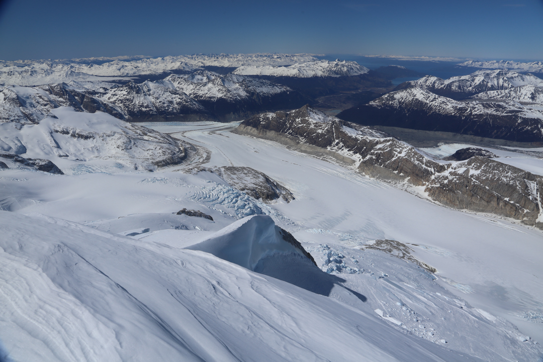 View from the summit of Cerro Stoppani, looking down the Yandegaia Valley, Stoppani Glacier, and Armada de Chile Glacier.
