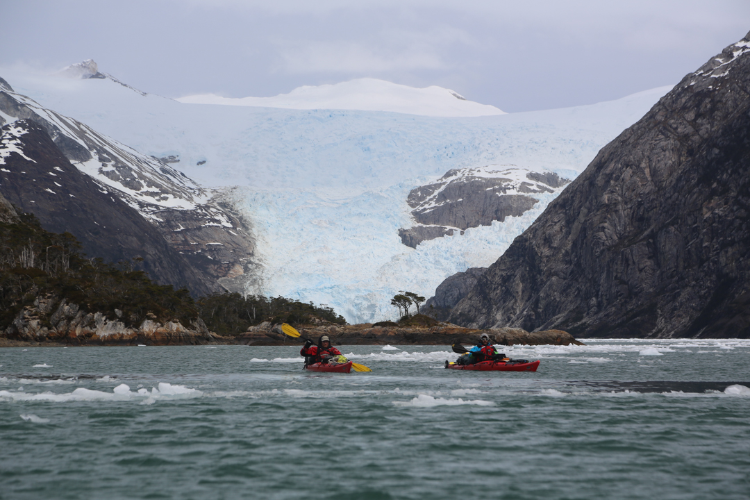 "Christian Donoso writes, ""We accessed the Cuevas Glacier by sea kayak, sailing in total autonomy through the Almitantazgo Sound and the Parry Fjord. The expedition lasted a total of 35 days, with harsh storms in the first days and excellent weather toward the second half of the expedition."""
