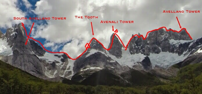 The central portion of the Skyline Traverse of the Avellano Towers, as seen from the east, which Moneypenny and Villarroel completed over three days.