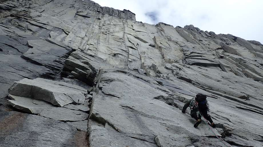 "Rodrigo Lobo Villarroel leading up the central wall of ""Cerro Square Face."""