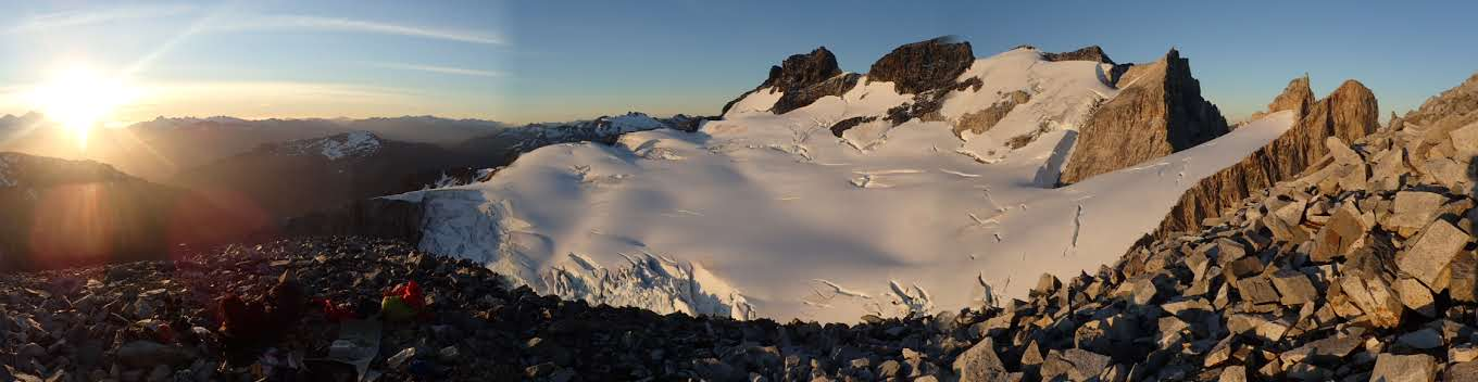 Looking north from a bivy below South Avellano Tower back toward Avellano Tower and the west-side glacier during the Skyline Traverse.