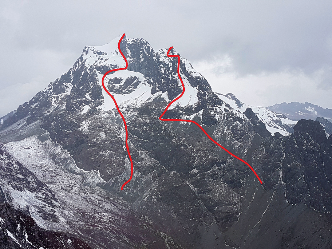 (Left) The May 2018 route on the northeast face of Rajuntay (5,477m). (Right) The June 2018 northeast couloir route (350m, D 70º M3) on Rajuntay Norte (ca 5,400m)  Steve Meder