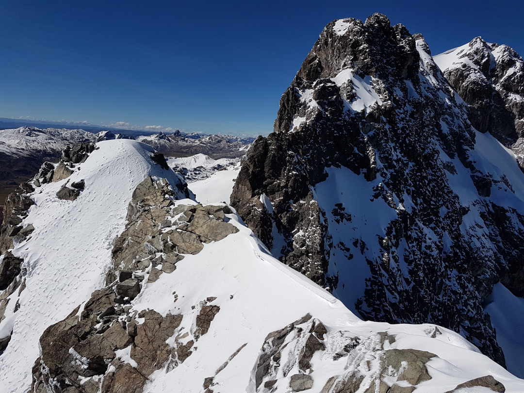 The view from Rajuntay Norte (ca 5,400m) toward the 5,477m main summit.