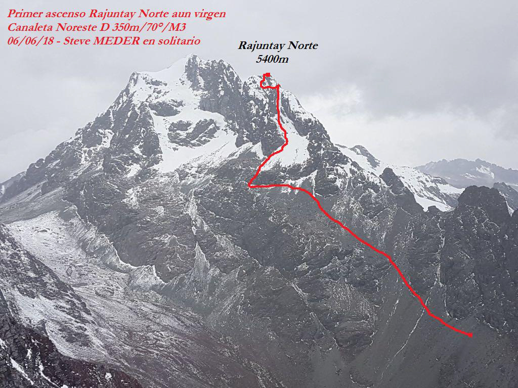 A zoomed-out view of the northeast couloir route (350m, D 70º M3) on Rajuntay Norte (ca 5,400m).