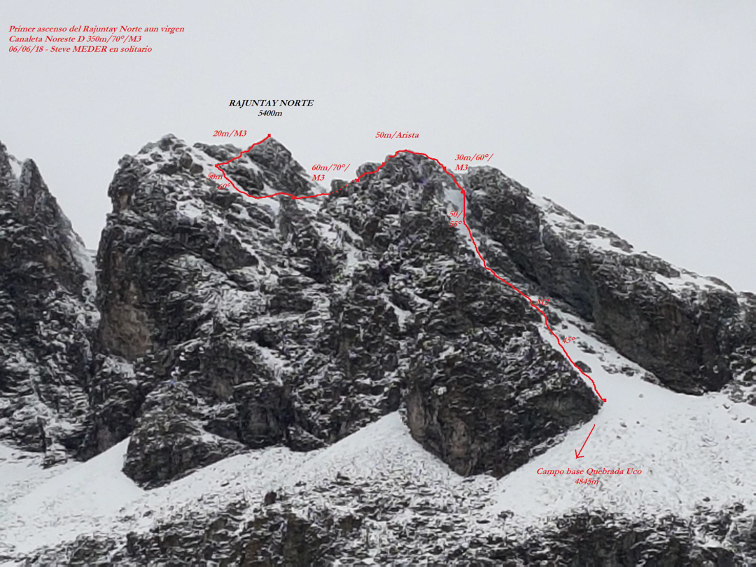 A detailed photo-topo of the northeast couloir route (350m, D 70º M3) on Rajuntay Norte (ca 5,400m).