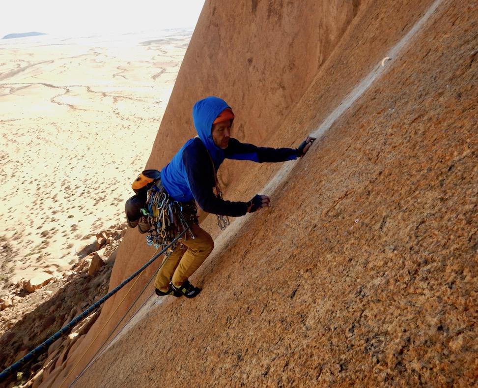 David Barlow on thin slab climbing on the third pitch of Mamba No. 5.