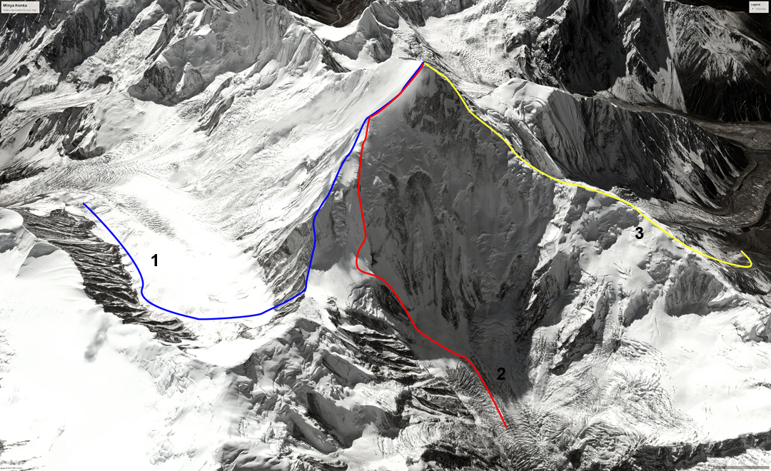 Minya Konka (7,556m), showing: (1) 1998 Korean Route up the northeast ridge, approached by the Hailuogou Glacier; (2) 2018 Chinese Route up the north-facing spur and northeast ridge, approached via the Yanzigou Glacier; and (3) 1932 American Route on the northwest ridge.