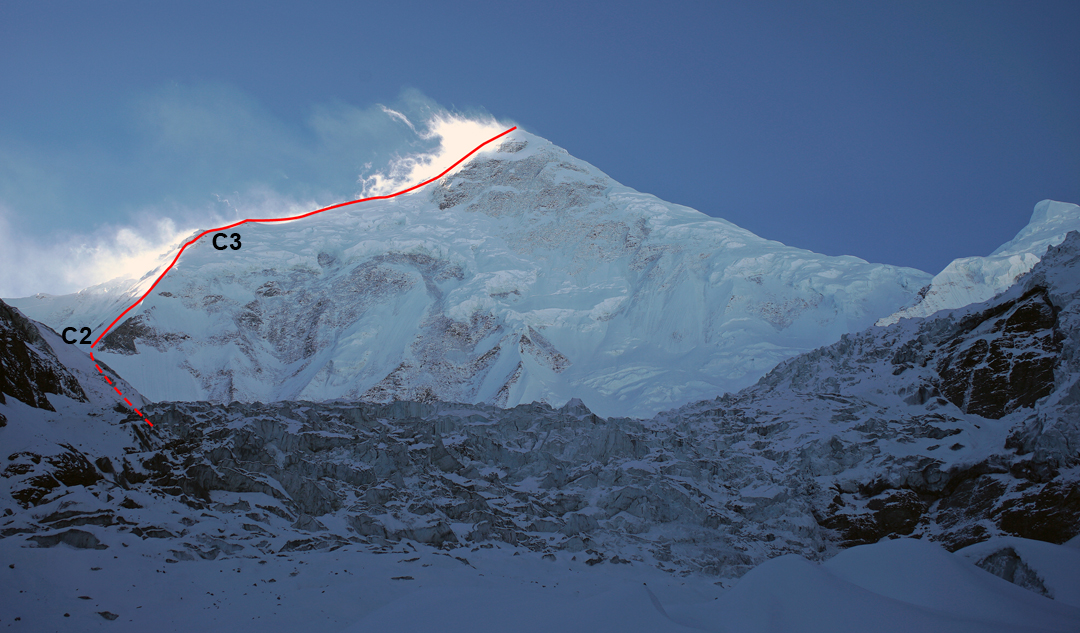 Minya Konka from the north, showing the Chinese Route up a spur to the northeast ridge. Camp 2 was at 5,800 meters and Camp 3 at 6,700 meters. The right skyline is the northwest ridge, followed by the American team that made the first ascent of the mountain in 1932.