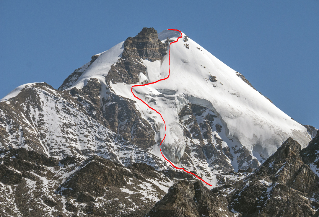 Limi Koti (6,194m) and the route of ascent up the southwest face and west ridge.