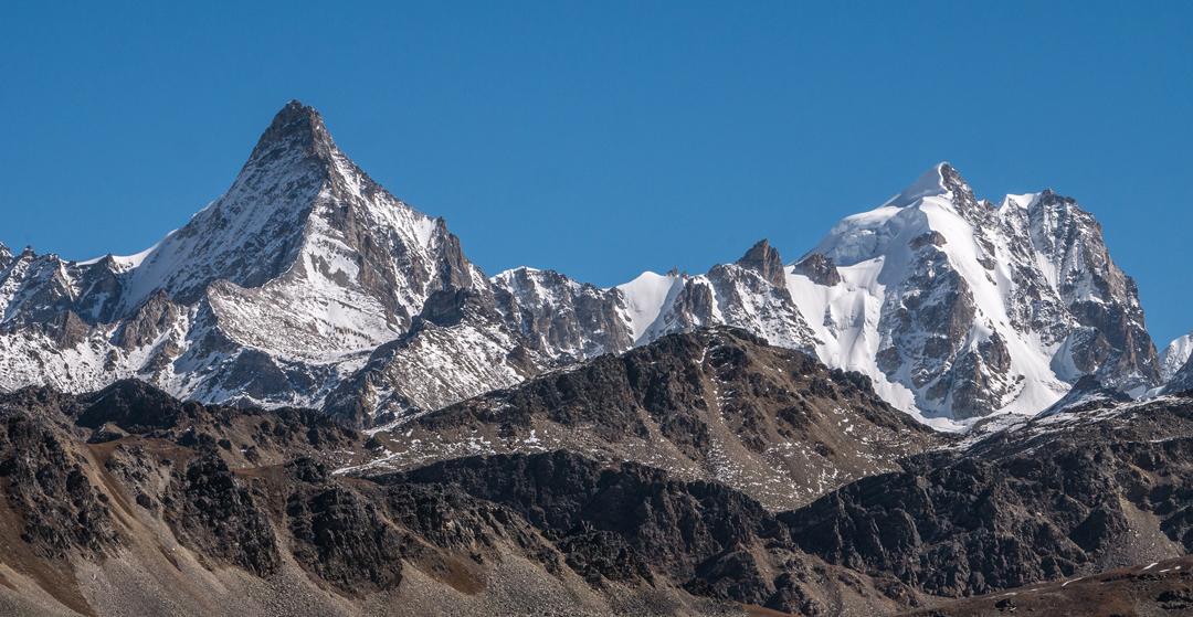 Unclimbed peaks of the Limi Himal, both close to 6,000m and close to Limi Koti.