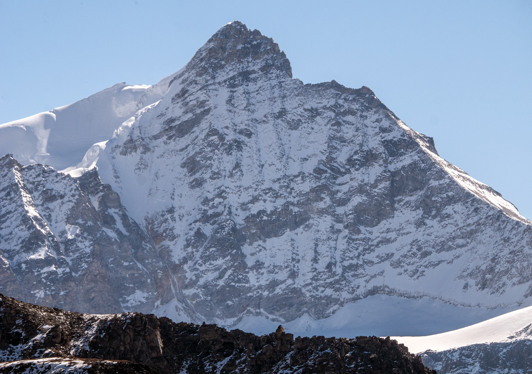 An unclimbed mixed face in the Limi Himal.