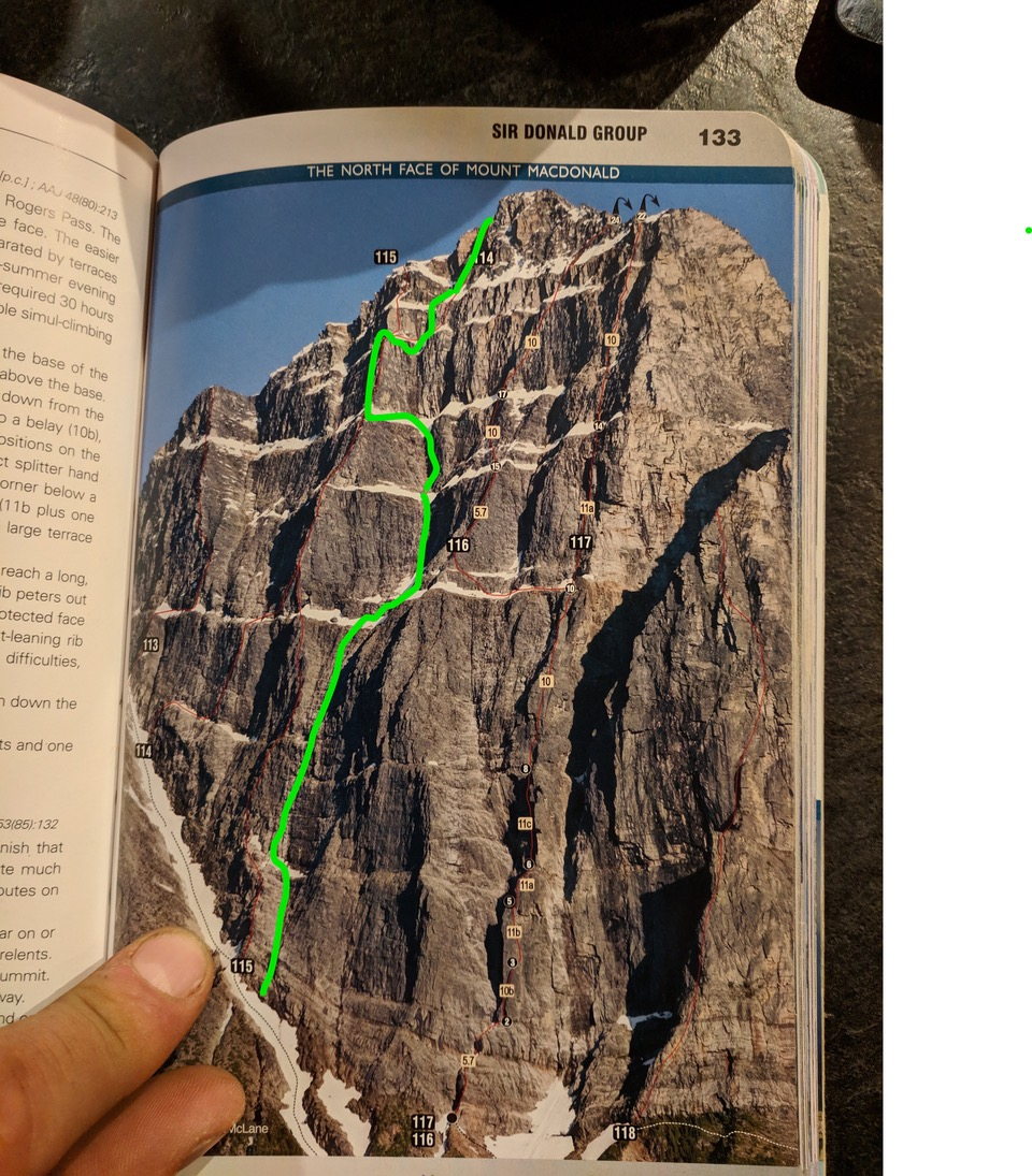 Marked-up photo in the Rogers Pass Alpine Guide showing the line of the Indirect American on Mt. Macdonald's north face. The zag to the left was after the crux on day two.