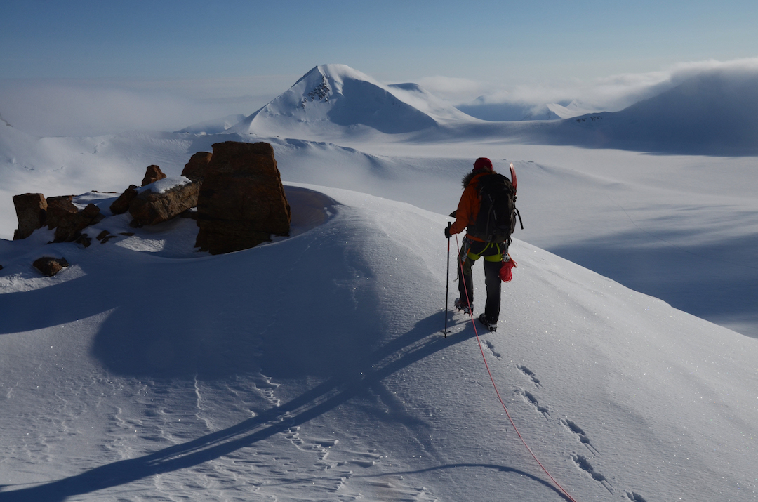 The west ridge of Brocken Spectre Peak with Aktiniq behind.